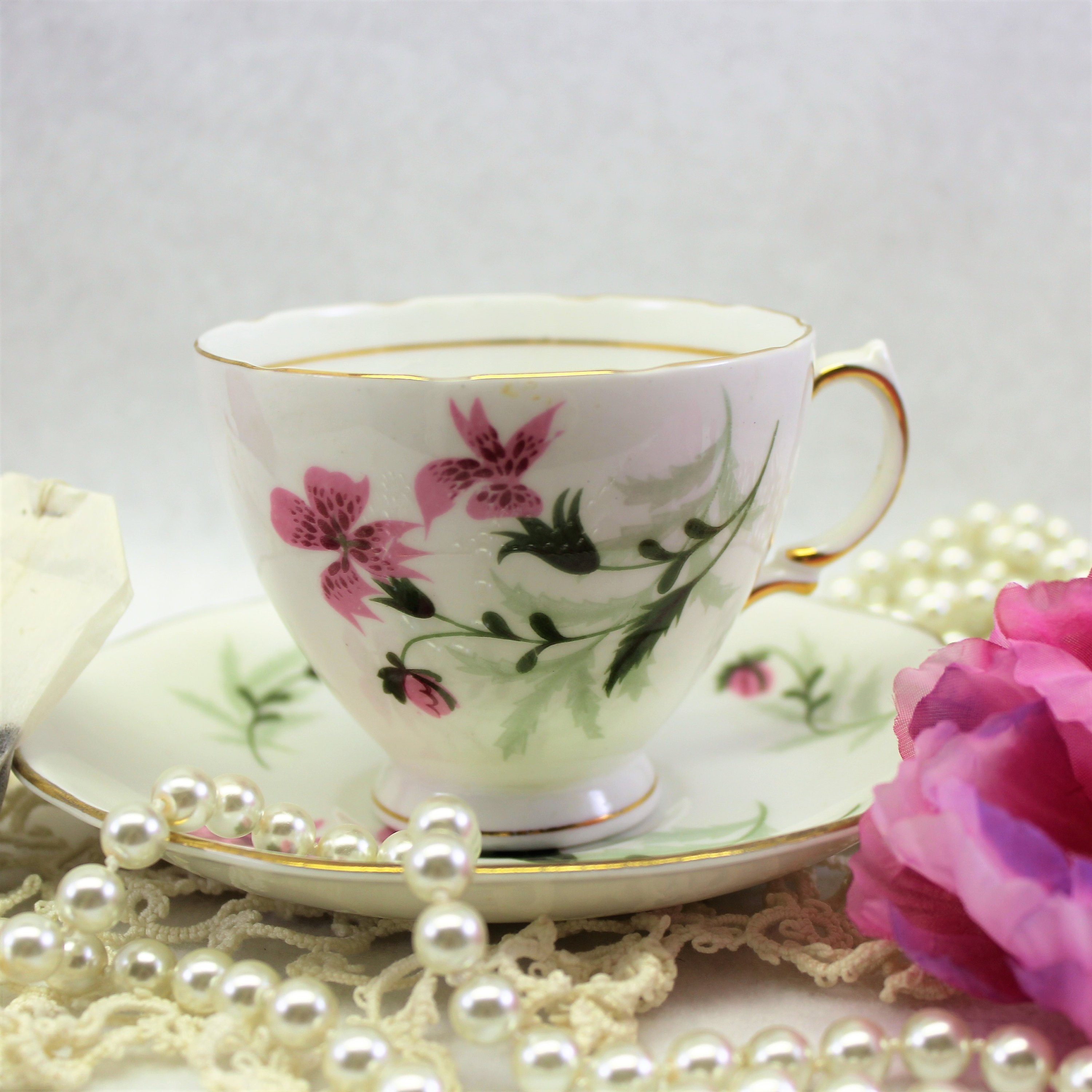 Vintage Colclough Pink Lily Tea Cup And Matching Saucer 1960s