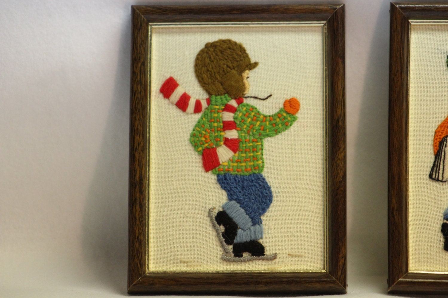 VINTAGE Pair of Hand embroidered Pictures of Little Boys Needlework ...