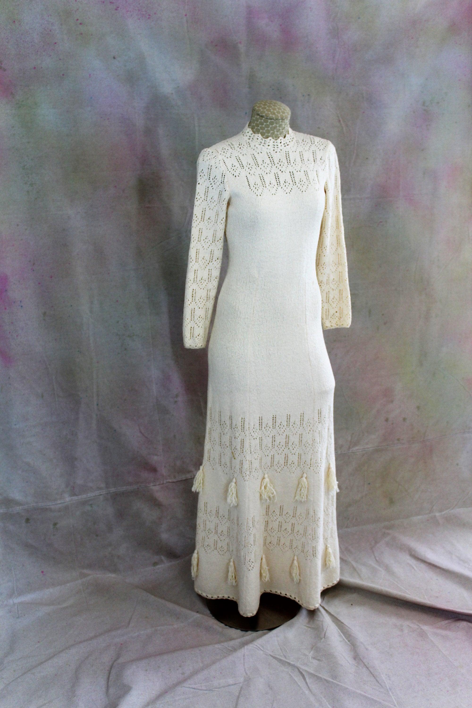Picardo Knit Cream Long Maxi Dress Boho Chic Dress Tassels Vintage ...