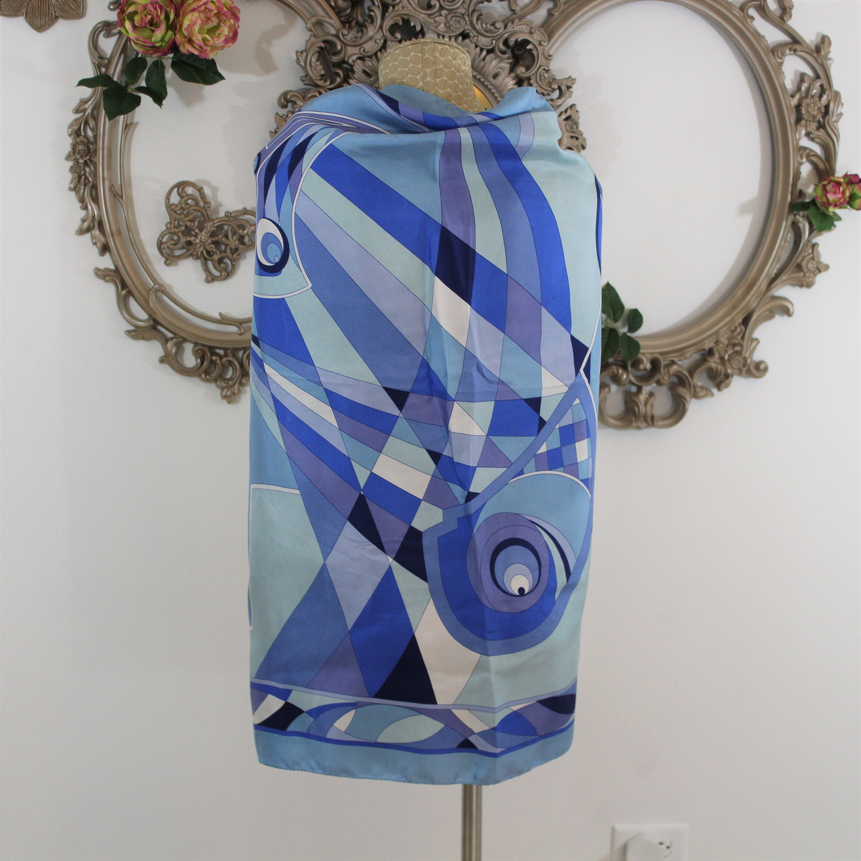 Mod print square scarf in shades of blue large enough to be a