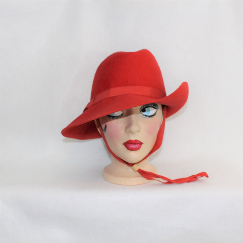 ebb43d012b9 Red Wool Fedora Hat with adjustable chin strap by Terry Sales | Etsy