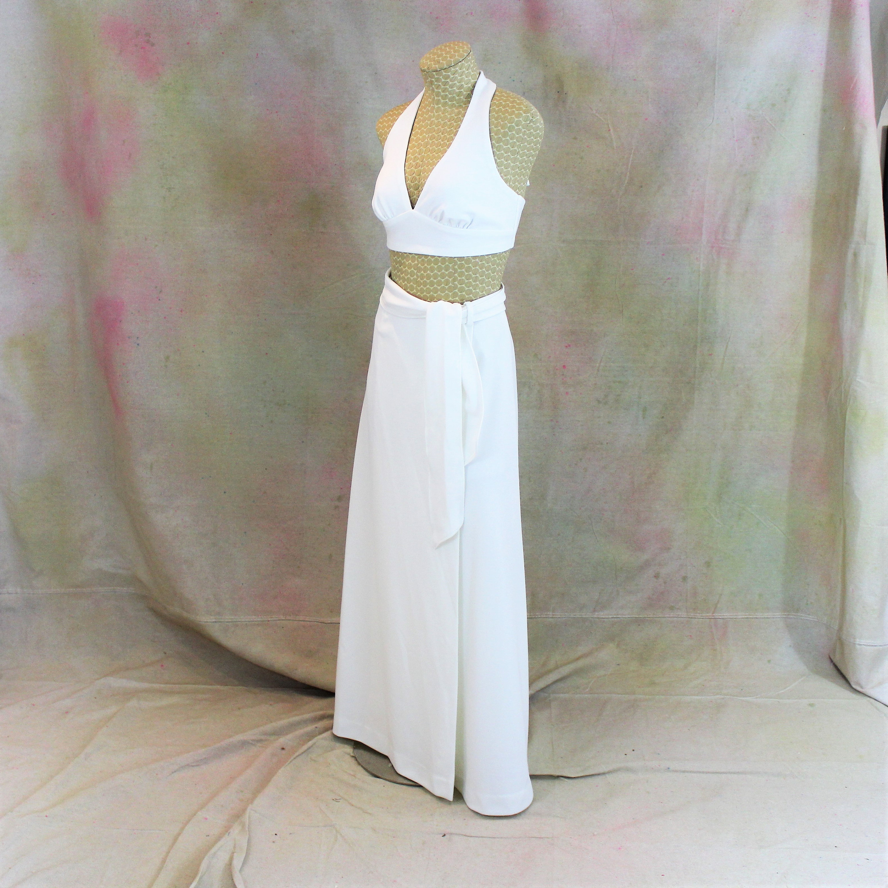6c27bffee5 1970 s White Halter Top and Long Wrap Skirt size S. Vintage Open ...