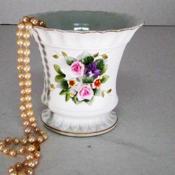 Vintage Lefton China Vase Hand Painted Flowers Adorn Front