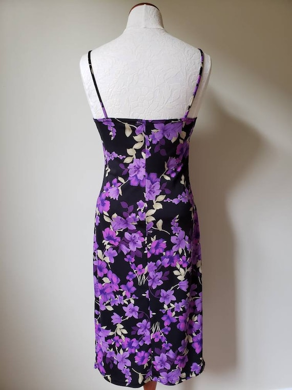 Vintage 90s Purple Sweetheart Dress Strappy Cage Cocktail Party Mini Small S 10898