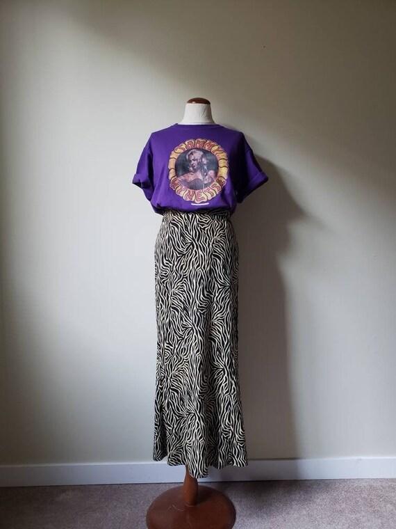 Vintage 90s animal print long skirt | 1990s tiger