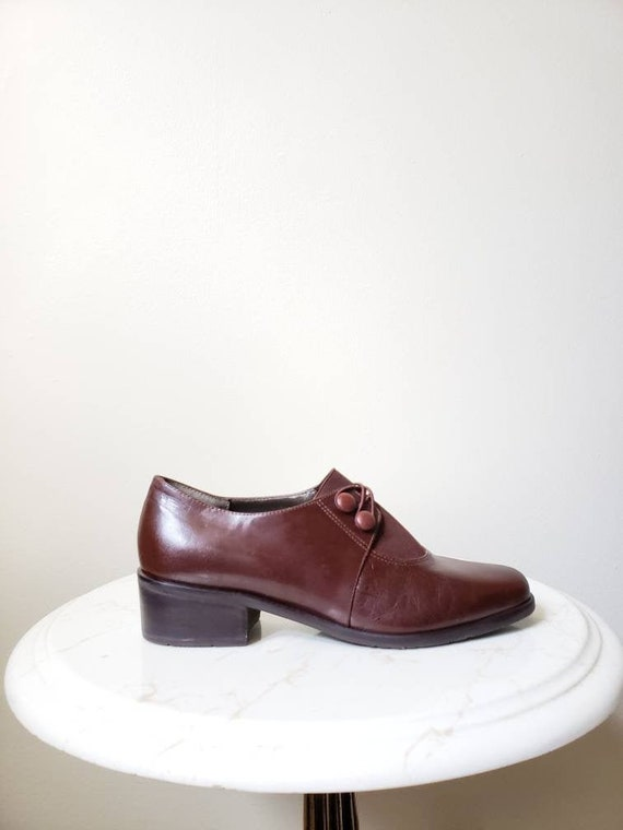 Vintage 90s brown leather oxford shoes | 1990s pre