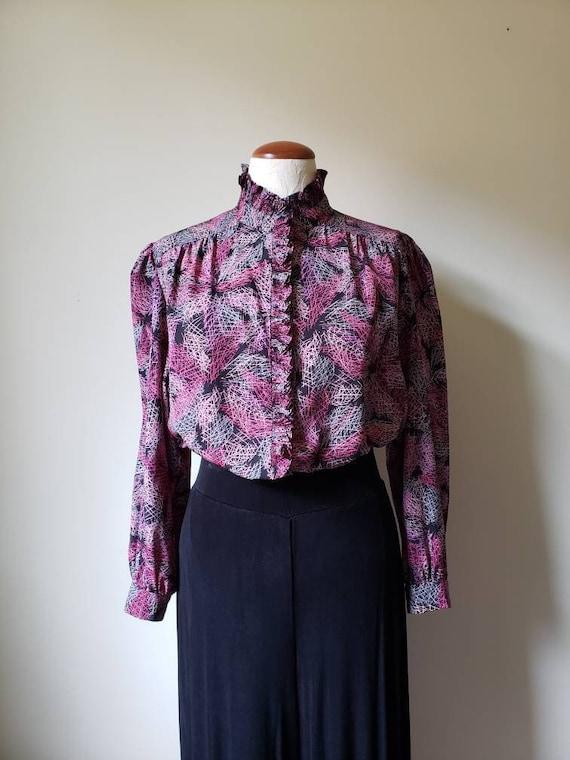 Vintage 80s button down silky blouse high collar |
