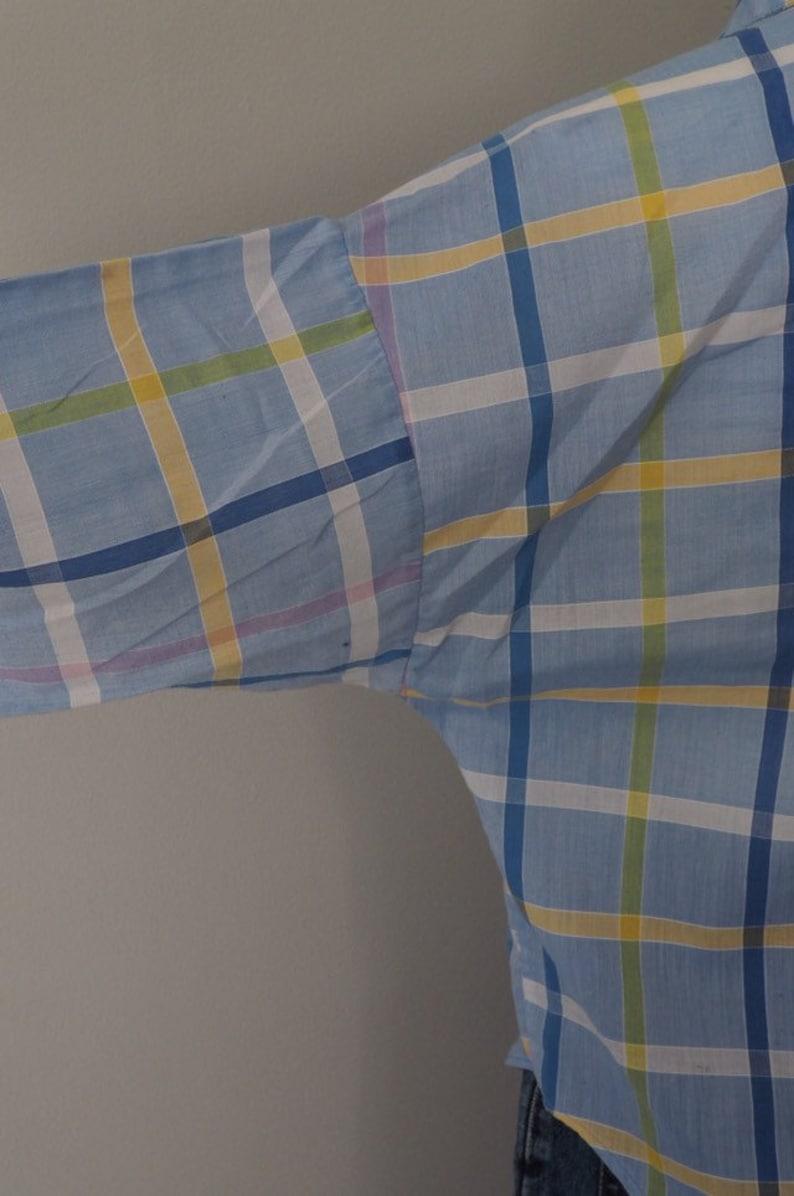 plaid blouse loose fit checkered shirt soft cotton boho chic boxy 1970s plaid button down shirt Vintage 70s S
