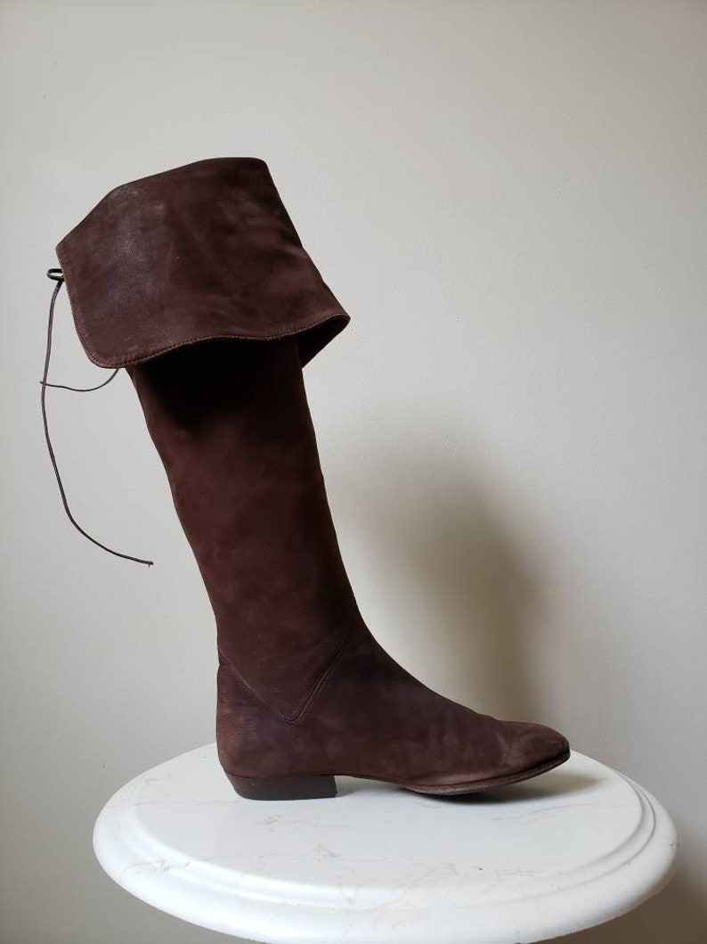 1990s festival brown leather riding boots HOLT RENFREW 5.5 Vintage 90s boho knee high brown suede boots