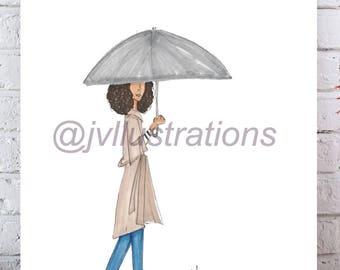 Rain Rain. Fashion Illustration Print.