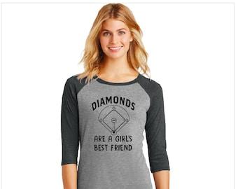 BASEBALL SHIRT. Diamonds Are a Girls Best Friend. Baseball Shirt. Women's Baseball Shirt.