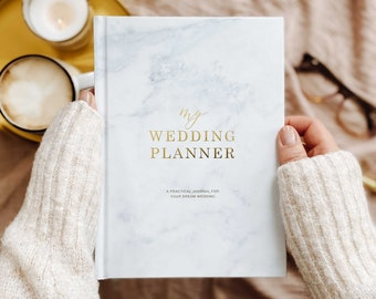 Luxury marble wedding planner book with gold foil, engagement gift for brides, gift for brides, wedding checklist (w/optional gilded edges)