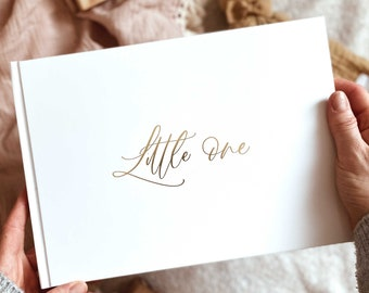 Luxury baby memory book (Little One - White with Gold Foil and Gilded edges), gift for couples, new parents keepsake record book