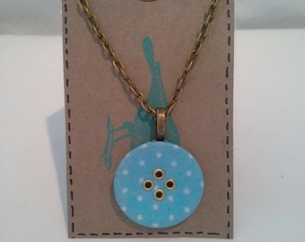 Spotted Fabric Button Necklace