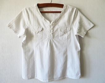 White Vintage Women's Blouse White Summer Top White Short Sleeve Shirt Secretary's Short Sleeved Summer Mandarin Collar Shirt XL Large