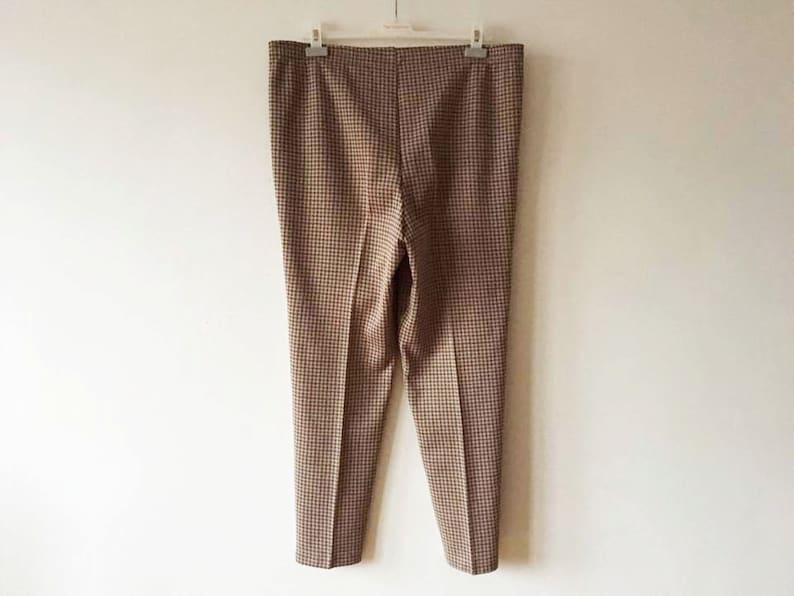 6bad4fafc10bc Light Brown Tweed Pants High Waist Tweed Slacks Plaid Tapered Womens  Trousers Brown Formal Checkered Slacks XL Large Size Trousers Waist 32