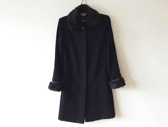 Black Wool Blend Coat Womens Winter Coat Warm Coat