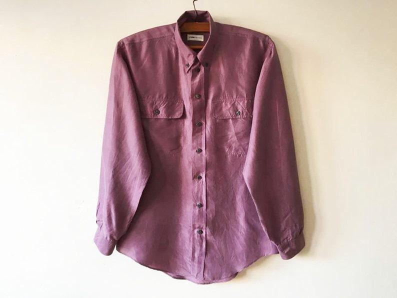 e8aa7ac1 Vintage Men's Silk Shirt 80's Marsala Long Sleeve Silk   Etsy