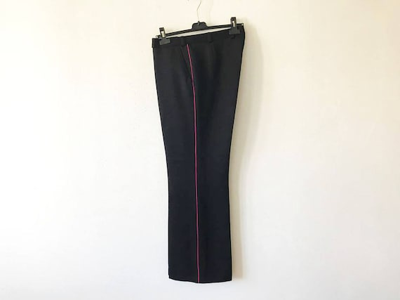 Marching Band Pants Navy Gabardine Pants Military Trousers Uniform Trousers With Stripe Mens Blue Slacks Made In USA Size Small To Medium Mnshz