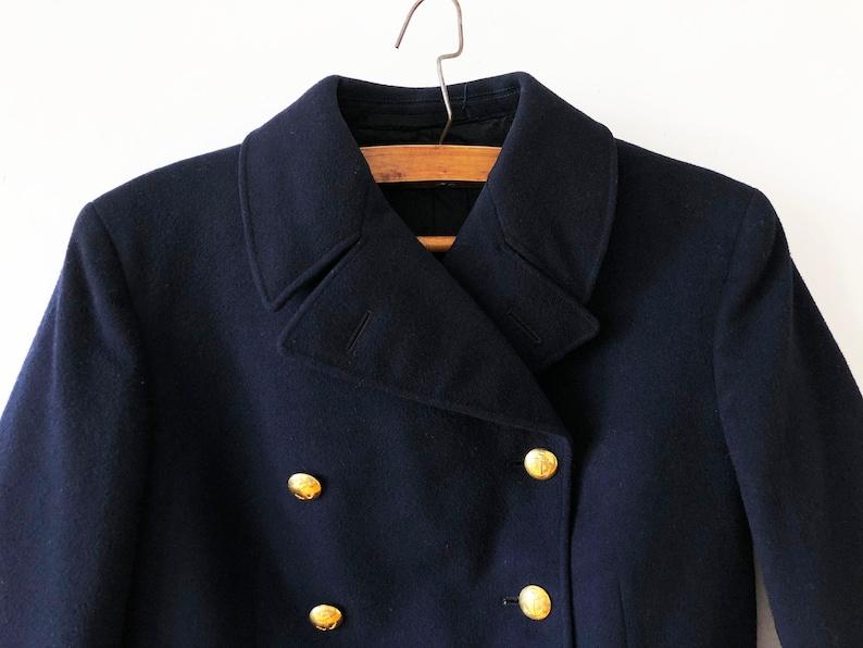 c5ca36d80093 Caban militaire bleu marine Vintage Unisexe laine mélange