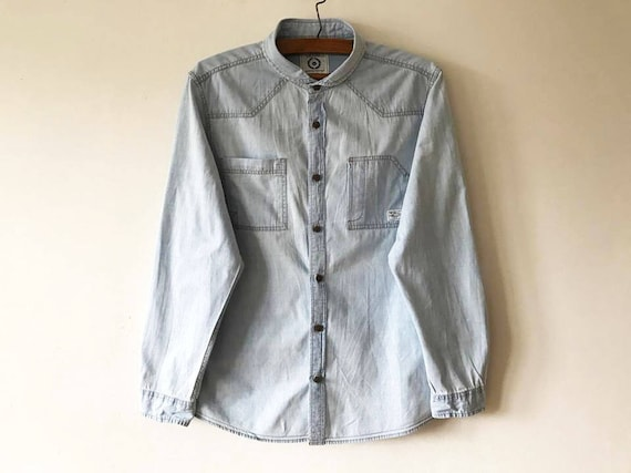 Men's Light Blue Denim Shirt Summer Cotton Shirt L