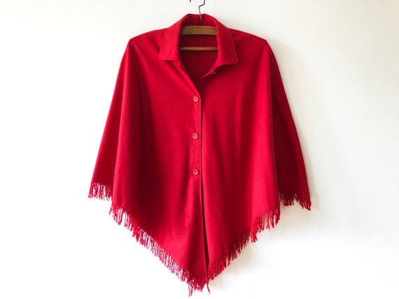 Vintage Hot Red Blend Cape de laine fine dautomne Poncho en   Etsy 0731ccb6db26