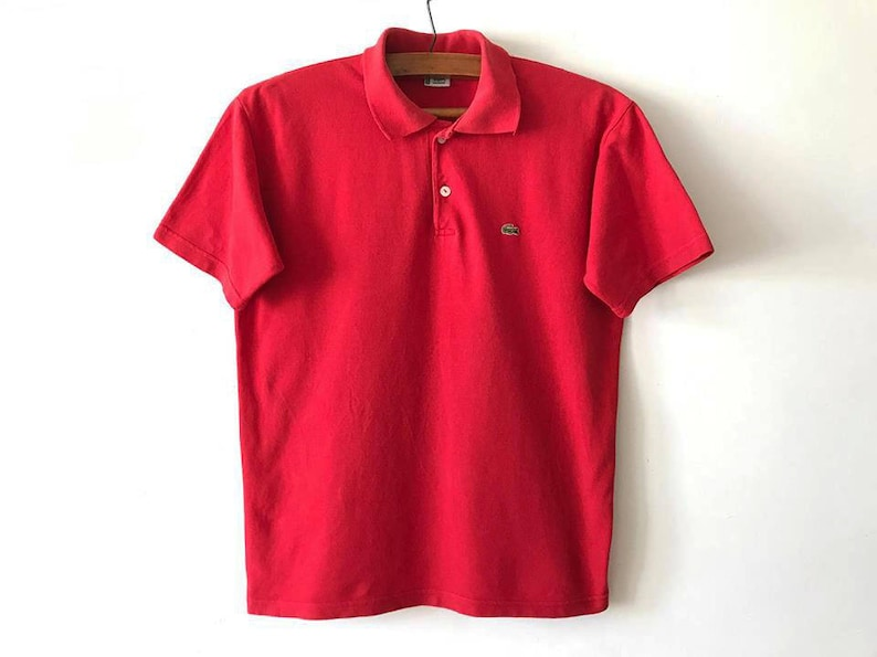 c40ce01ee9e43 Vintage Red LACOSTE Chemise Preppy Short Sleeve Golf Tennis