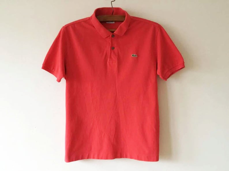 1e10ebd5 Vintage Coral Red Lacoste Polo Shirt Short Sleeve Summer Chemise Coral Pink  Polo Golf Shirt Preppy Singlet Size Medium Polo Made In France
