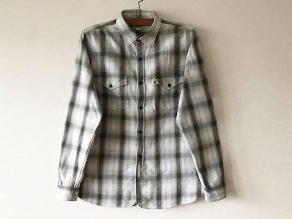 Vintage Hipster Shirt Black Striped Button Up Long Sleeve Button Up Surfers Bohemian Lumberjack Shirt Size Medium Hipster Fishermans Shirt