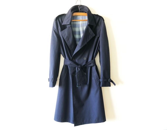Navy Blue Men's Trench Coat Blue Trench Classic Do