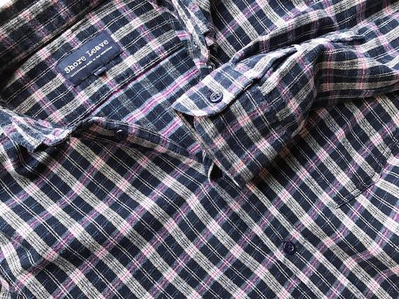 Blau karierte Herren Flanellhemd geprüft Baumwolle Mens Arbeit Shirt Holzfäller Hemd Grunge Oxford Langarm Hipster klein Shirt