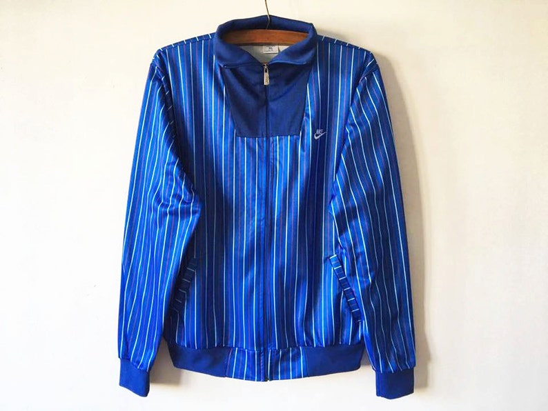 39b3aef19917 Vintage Blue Striped NIKE Track Jacket NIKE Jogging Jacket