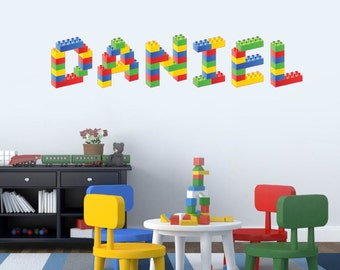 Attractive Personalised Name In Lego Building Blocks Childrens Bedroom Wall Sticker  Decal, EACH LETTER 12 Inches