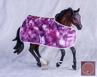 Traditional Model Horse Blanket (Purple Galaxy) -- 1:9 Scale Miniature