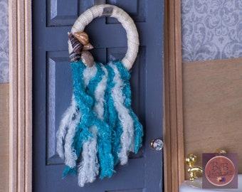 Miniature Wreath (Seashell & Blue Tassels) -- Dollhouse Miniature 1:12 Scale