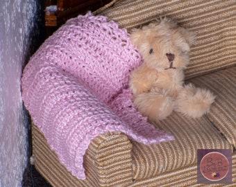 Miniature Crocheted Afghan (Light Pink) -- Dollhouse Miniature 1:12 Scale