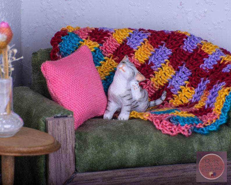 Miniature Crochet Blanket Red Yellow Pink Blue & Purple image 0