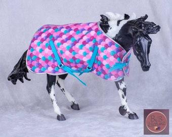 Traditional Model Horse Blanket (Pink & Teal Mermaid) -- 1:9 Scale Miniature