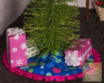 Miniature Tree Skirt (Pink, Blue & Green) -- Dollhouse Miniature 1:12 Scale