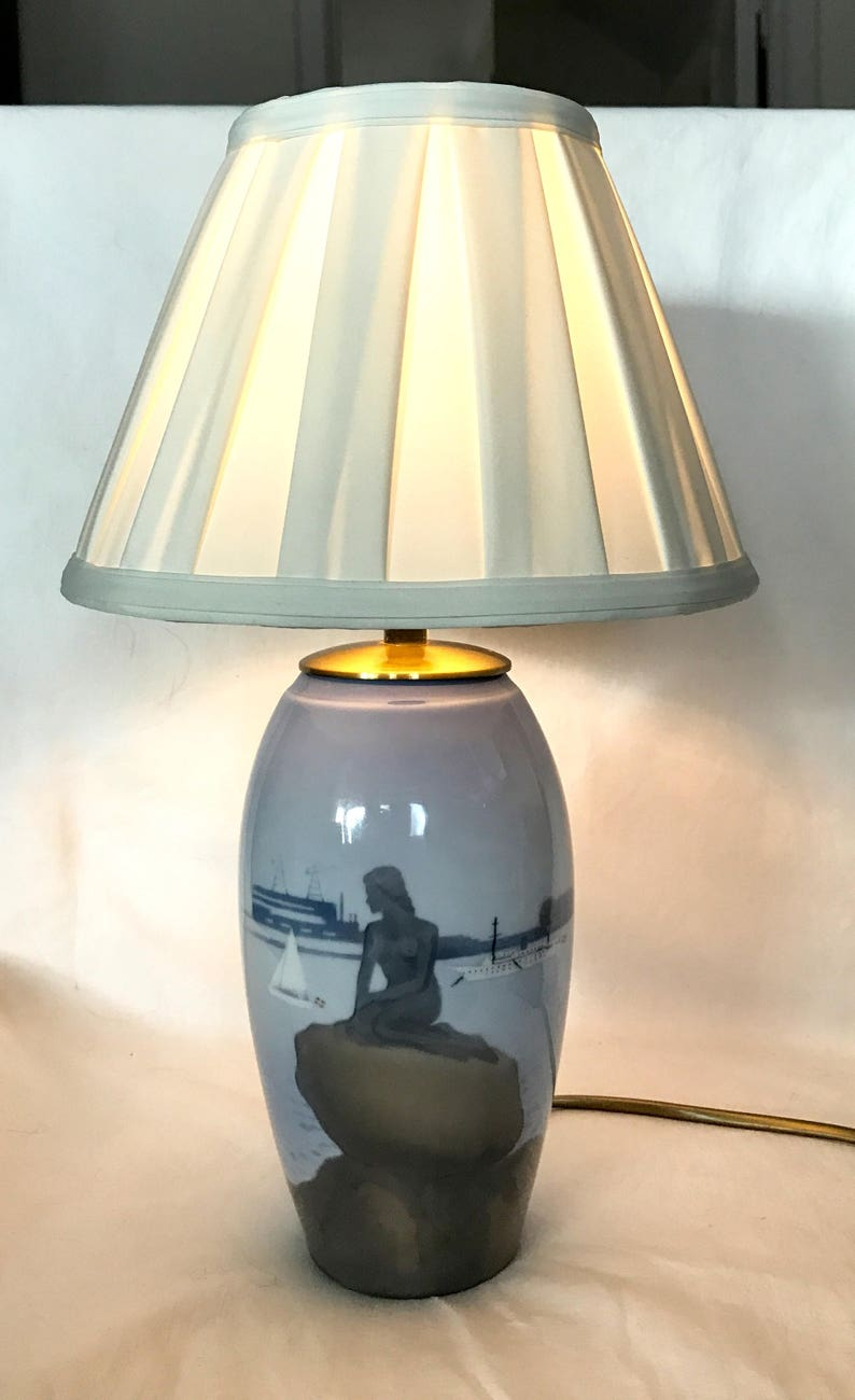Spring SALE 20/% Bing/&Gr\u00f6ndal  Vintage large lamp whit lamp shade in white silk and brass lamp  holder   The little havsfurn  Like new!