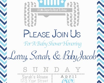 Blue Jeep Theme Baby Shower Invitation