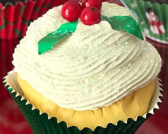 Fake cupcake with holly berries