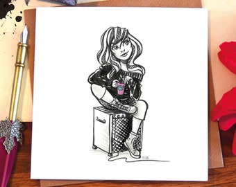 Greeting card / girl / music / amp / mug / coffee / tea / thinking / beauty / woman / hair / illustrated / ink drawing / Elska