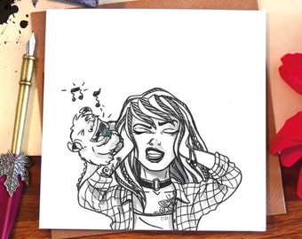 Greeting card / girl / music / singing / loud / screech / silly face / cute monster / karaoke / portrait / illustrated / ink drawing / Elska