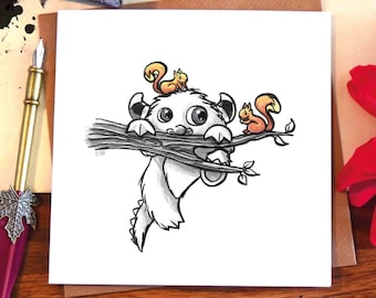 Greeting card / cute monster / squirrel / tree branch / climbing / friends / kids / illustrated / ink drawing / Elska