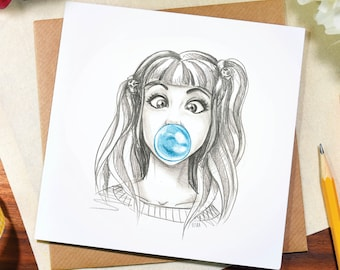 Greeting card / bubblegum / any occasion / cute /funny / birthday / thank you / note / illustration / art / pencil / drawing / Elska