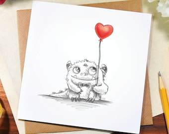 Greeting card / any occasion / love / heart / cute / balloon / monster / birthday / thank you / sketch / art / pencil / drawing / Elska