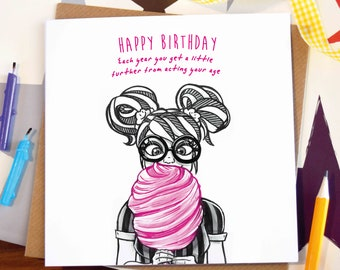 Greeting card / Happy Birthday / act your age / girl / candyfloss / stripes / funny / note / illustration / art / ink drawing / Elska /Blank