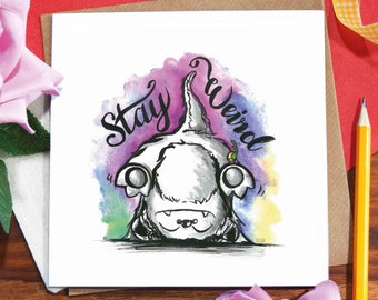 Stay weird greeting card / handstand / headstand / upside down monster / happy / different / love letter / illustrated / ink drawing/Elska
