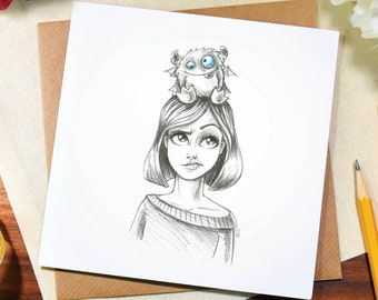 Greeting card / any occasion / cute / silly / funny / monster / birthday / thank you / note / illustration / art / pencil / drawing / Elska